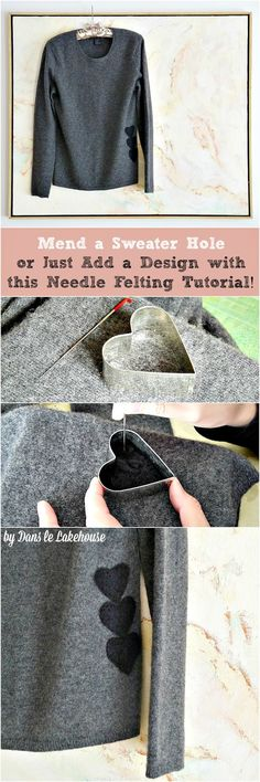 How to Use Needle Felting Techniques to Decorate - or Mend - a Wool Sweater! It's SO easy, you'll be hooked!