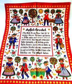 retro Pennsylvania Dutch Amish Country strudel tea towel; Austrian Kolf folk art; linen kitchen napkin; gift idea on Etsy, $14.95