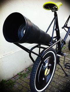"Bicycle prototype that plays records on its wheels, with a ""speaker"" amplifying cone mounted on the back. Created by Dutch designers Merel Sloother, Liat Azulay and Pieter Frank de Jong in 2011."