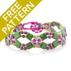 Flower Lattice Bracelet Pattern for Czechmates | Fusion Beads