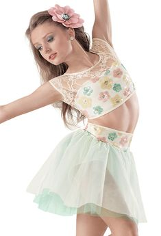 Weissman™   Sequin & Lace Floral Top with Skirt (I feel better) junior