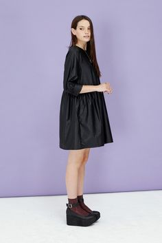 Button-Cuff Angel Dress Leather