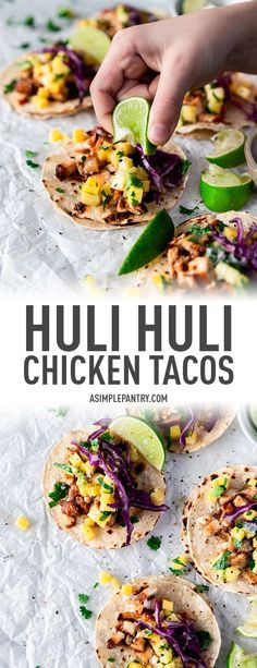 Take a break from the ordinary and serve up these Hawaiian Huli Huli Chicken Tacos topped with a fresh pineapple, mango, and avocado salsa for dinner this Taco Tuesday! | asimplepantry.com #tacotuesday #tacorecipes