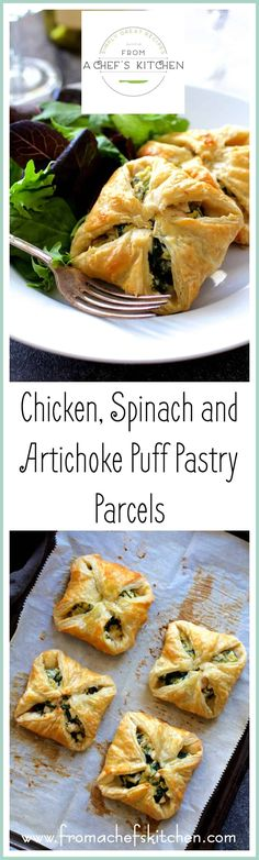 Chicken, Spinach and Artichoke Puff Pastry Parcels are super elegant and perfect for your spring special occasion!  @PuffPastry  #InspiredbyPuff via @chefcarolb