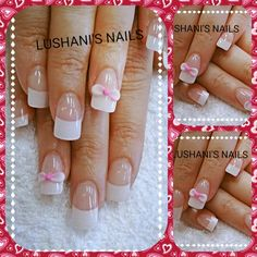 pink and white acrylic bows on french nails.