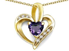 Star K Heart Shape 6mm Simulated Alexandrite Pendant Necklace