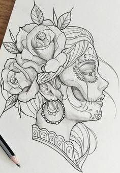 Get La Muerte Tattoo. Still looking for design, placement - thigh. Dark Art Drawings, Art Drawings Sketches Simple, Pencil Art Drawings, Beautiful Drawings, La Muerte Tattoo, Catrina Tattoo, Tattoo Design Drawings, Tattoo Sketches, Tattoo Designs