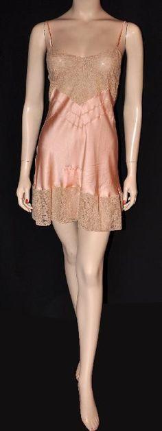 0728522f7bf54 Frivolous Flapper! Never-Worn 1920s Silk & Lace Bias-Cut Teddy ~