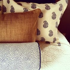 Close up of quadrille fabric on clients custom bedding.