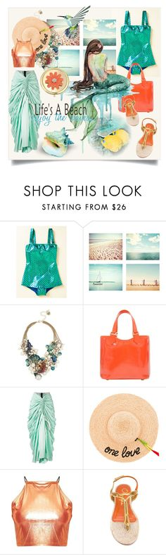 """You're Golden: Metallic Swimwear"" by kari-c ❤ liked on Polyvore featuring Esther Williams, WALL, Betsey Johnson, Louis Vuitton, Marni, Hat Attack, Charlotte Olympia, Life's a Beach, Liz Claiborne and metallicswimwear"