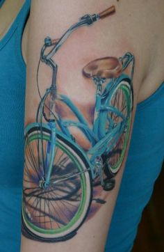 Ride bike tattooed naked world woman