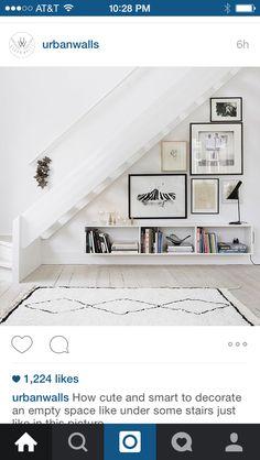 Under stairs photo arrangement.