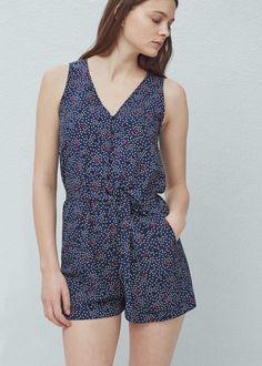 Korte jumpsuit met print - Jumpsuits voor Dames   MANGO België