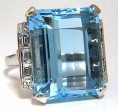 "GIA Certified 33.44ct Natural ""Blue"" Aquamarine diamonds ring Vivid"