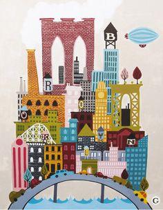 cute Brooklyn illustrations