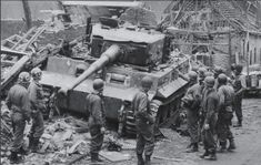 Tiger I that destroyed M26 Pershing Fireball immobilized by debris and abandoned. Elsdorf Germany February 1945 [1020646]