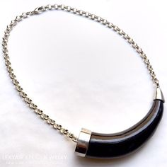 Finishing touches: Large black #tribal horn & silver #necklace. LEXYAiR I.N.C. JEWELRY #SS2015 #nyc #fashion #jewelry