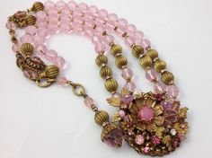 Vintage Miriam Haskell Faceted Pink Glass Bead w Large Pendant Necklace Signed   eBay
