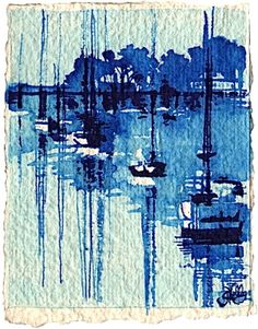 Sailboats on Five Mile River - Rowayton Daily Paintings by Gretchen Kelly, painting by artist Gretchen Kelly+++