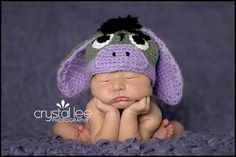 MARIA P, for when you have another! Eeyore Crochet Baby Hat Newborn Photography Prop by Zoealittlebit, $25.00