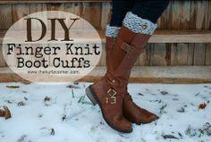 Diy finger knit boot cuffs