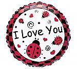 """I Love You"" Foil Ladybug Balloon"
