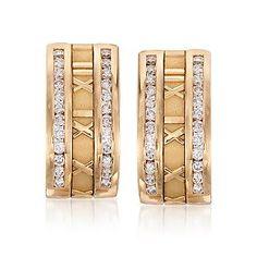 bb0d73d19 C. 1995 Vintage Tiffany Jewelry Diamond Atlas Earrings In 18kt Yellow Gold  - Tiffany Earrings