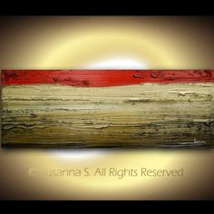 ORIGINAL Abstract Contemporary Fine Art  - Modern Palette Knife Brown Red Gold Painting by Susanna Large 48x18 Made2Order