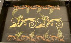 Folk Art Style Vintage Decorative Wood Table