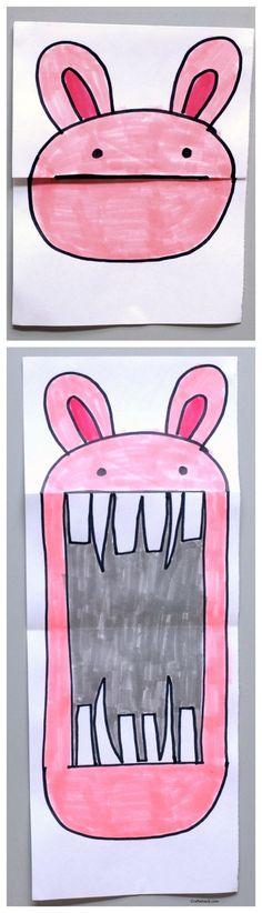 Leuke activiteit met kleurpotloden of stiften: schattige konijntjes worden monstertjes :-)