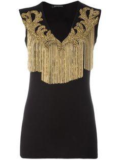 Balmain tasselled neckline blouse