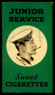 """Start 'em young: Sweet Cigarettes Packet (candy sticks) - """"Junior Service"""" Sweet Cigarettes c1950's"""