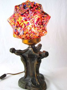 Art Deco Copper Flappers  End Of The Day Starburst Multi-colored Globe Lamp image 3
