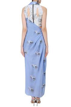 Babita Malkani presents Serenity blue floral printed drape saree available only at Pernia's Pop Up Shop. Saree Draping Styles, Saree Styles, Hijab Styles, Blouse Styles, Drape Gowns, Draped Dress, Drape Sarees, Indian Attire, Indian Wear