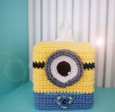 Minion Despicable Me Inspired Crochet Kleenex Tissue Box Cover Amigurumi