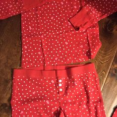 Red and white pajama. Victoria's Secret PINK. Super-cute and cozy red and white Polk-a-dot thermal pajama set from VS's PINK Collection. Size small. New. ❤️ PINK Victoria's Secret Intimates & Sleepwear Pajamas