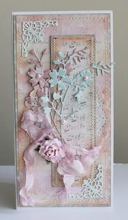 handmade card from Russia ... tall and thin ... shabby chic .. . delicate die cut flowers ... crumpled seam binding bow .. artificail flowr  .... lace . pinks and cream ... delicate look ... lovely!!
