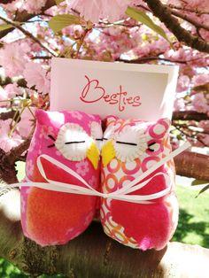 BFF gift Owl Besties best friends owl in pink by MarysDreamStudio, $30.00