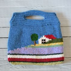 """This small bag is beautifully hand knitted. Fully lined. Designed and knitted by Misako, an artisan in Japan. Made in Japan Imported Size: 10""""W x 9.25""""H(including handle) Material: Cotton yarns, cotto"""