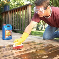 even the best solid-color deck stains eventually flake away. to make an old deck look new again, strip off all the old finish, then clean, recondition and stain the wood. Deep Cleaning Tips, House Cleaning Tips, Spring Cleaning, Cleaning Hacks, Deck Cleaning, Deck Repair, House Repair, Easy Deck, Stripping Paint