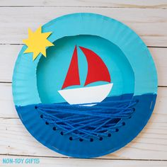 An easy paper plate boat craft for kids to make this summer. Paint, cut, thread and glue - preschoolers and kindergartners will love this craft.