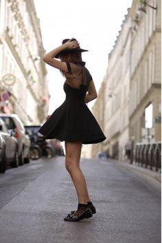 ROMWE Mesh Peak Collar Little Black Skater Dress