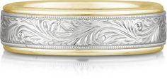 applesofgold.com - Engraved Paisley Wedding Band, 14K Two-Tone Gold