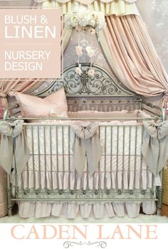 This gorgeous blush pink linen and lace vintage style nursery is beyond swoon worthy and belongs to one of our own. Click through for all the details!