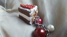 Cute cake keyring charm