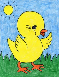 Here's how to draw a baby chick, with kind of a cartoon twist. The large simple shapes and cutesy eye makes it fun for young artists. for kids Draw a Baby Chick · Art Projects for Kids Easy Art For Kids, Art Videos For Kids, Easy Drawings For Kids, Art Lessons For Kids, Drawing For Children, Best Drawing For Kids, Scenery Drawing For Kids, Art Kids, Easy Animal Drawings
