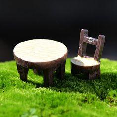 Круглый стол стул комплект миниатюрных волшебный сад дома дома украшения мини ремесло микро-карты озеленение декора сделай сам аксессуары