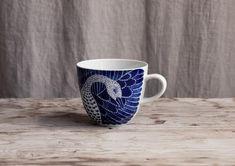 The swedish designer Emma von Brömssen blue and white porcelain collection Selma for Götefors Porslin.