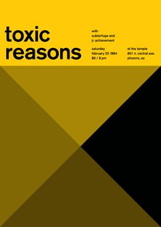 toxic reasons at the temple, 1984 - swissted by mike joyce Vintage Graphic Design, Graphic Design Posters, Mike Joyce, International Typographic Style, Art With Meaning, Swiss Style, Swiss Design, Type Posters, Temple