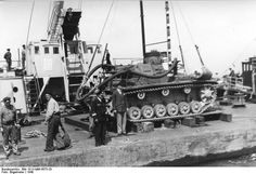 France 1940, German preparations for Operation Sealion: A Panzer III tank modified for amphibious operations.